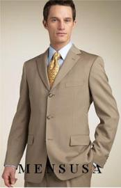 Tan - Beige/Bronze - Camel Super 140s Wool  Mens Three Buttons