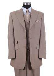 Mens Three Piece Suit - Vested Suit Mens Tan ~ Beige 3