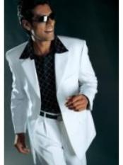 polyester High Twist 3 Button Suits For Men White