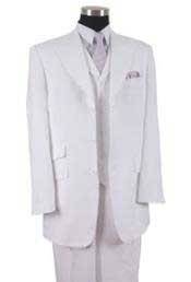 Mens Three Piece Suit - Vested Suit Mens White Impeccably hand sewn