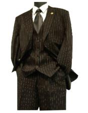 Mens Three Piece Suit - Vested Suit Mens Black / Red Stripe
