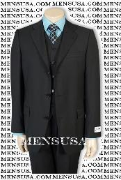 Solid Black Vested 3 ~ Three Piece Suit Super 150s Wool Vested