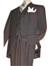 Quality Jet Liquid Black Pinstripe Vested 3 ~ Three Piece Suit Super 120s 100%