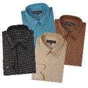 Dress Shirt Polka Dot Pattern Formal or Casual Multi-color