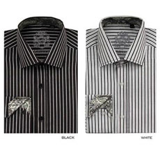 Stylish Casual Fashionable Stripe Dress Shirt Black And White