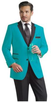 Slim Turquoise ~ Aqua & Black Lapel Tuxedo Dinner Jacket Blazer ~ Sport Coat + Free Black