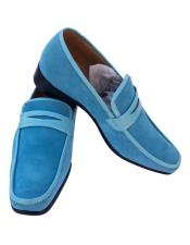 Blue ~ Turquoise ~ Baby ~ Light Ocean blue Slip-On Casual Dress Loafer Shoes