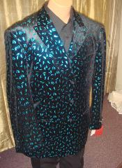 Mens Velvet Blazer/ Jacket in Black/turquoise ~ Light Blue Stage Party