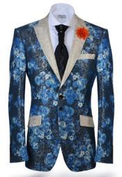 Aqua Turquoise Blazer Floral