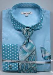 Turquoise Polka Dot Dress Shirts French Cuffed Matching Shirt & Tie