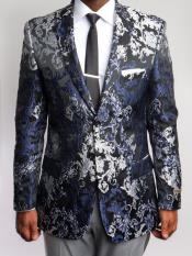 Mens Floral ~ Paisley Blazer Black and Silver ~ Blue ~ Navy Print Sports coat
