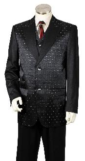 3 Piece Designer Fashion Trimmed Two Tone Blazer/Suit/Tuxedo - Fancy Diamond Pattern Black