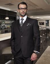 Classic 3PC Vested 2 Button Jet Black Chalk White Pinstripe Suit Super