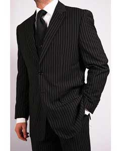 3-Piece Black Bold White Chalk Bold Pinstripe Vested Cheap Priced Business Suits Clearance Sale