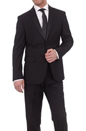 Slim Fit Solid Black Two Button Tuxedo Suit With Satin Lapel