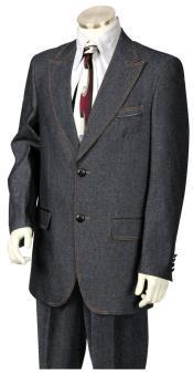 Faux Leather Buttons Black 3pc Suit Vest and Pants