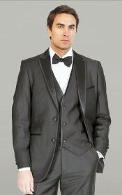 Framed Notch Lapel with Vest Microfiber Fashion Tuxedo For Men