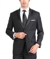 Skinny Tapered Slim Fit single button Tuxedo ~ elegant Welt chest pocket  satin peaked lapel