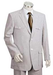 Safari Style Mens Fashion Seersucker Sear sucker suit in Soft 100% Cotton