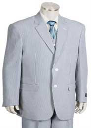 Mens Fashion 3pc Seersucker Sear sucker suit in Soft Poly Rayon Blue