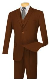 Long For Tall Man Vested Three Piece Two Button Style Pinstripe Suit Brown