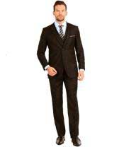 Suit Two Button Vested 3 Piece Skinny Lapel Slim Fit Brown
