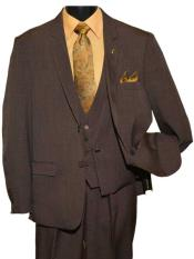 Two Button Dark Brown Single Breasted Notch Lapel Vested Suit