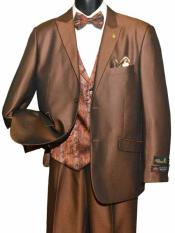 Peak Lapel 2 Button Single Breasted Brown Vested With Adjustable Tie