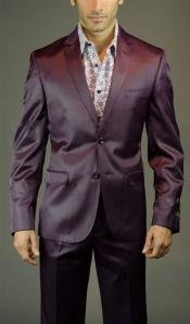 Three Piece Shiny Burgundy ~ Maroon Suit Slim Fit Suit Mens