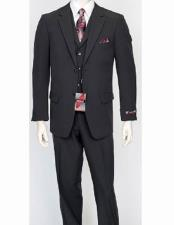 Mens 3 Piece Poly Poplin Charcoal Matching Vest Dress Suit Wth Pleated