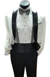 Mens Two Button Closure White Tuxedo Include Black & White Stripe Bow