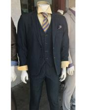 Denim 2 Button Suit Vested Notch Lapel Flat Front Pants (Jacket