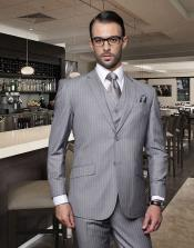 Classic 3PC 2 Buttons Light Gray ~ Grey Stripe ~ Pinstripe (ASH silver Color) Suit Super 150S