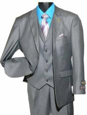 Two Button Single Breasted Gray Peak Lapel Vested Suit