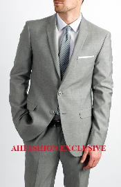 Two Button Single Breasted Silver Grey Cheap Priced Business Suits Clearance