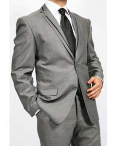 Mens Gray 2 Piece 2 Button Slim Cheap Priced Business Suits