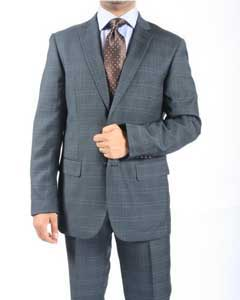 Button Slim Fit Grey Blue Window Pane Glen Plaid Cheap Priced Business Suits Clearance Sale