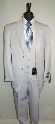 Mens  Vested Suit Two Button Peaked Lapel Suit With A Three