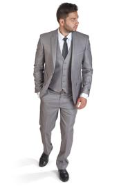 Button Notch Lapel Slim Fit Men 3 Piece Vested Silver Grey