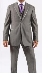 Two Button Grey ~ Gray Manhattan Fashion Tuxedo For Men