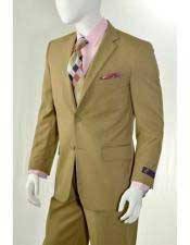 Mens Slim Fitted Solid Khaki  2 Button Suit With Flat Front