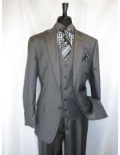 Vinci Mens Shadow Stripe Style Two Buttons Medium Grey  Vested Suit