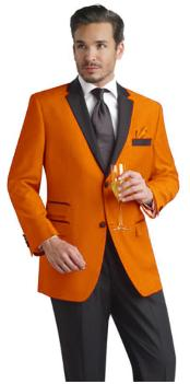 Orange Two Button Notch Suit & Tuxedo & Blazer W/ Black