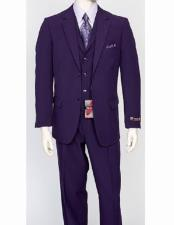 Mens Regular Fit 3 Piece Purple Matching Vest Poly Poplin Dress Suit