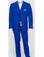Mens Royal 3 Piece Poly Poplin  Matching Vest Dress Dress Suits