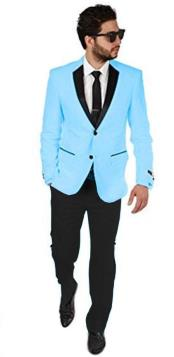Sky Light Blue ~ Baby Pastel Color With Black Lapel Tuxedo