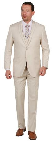Suit Two Button Three Piece Slim Fit Tan