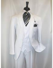 Vinci Mens Shadow Stripe Style Two ButtonsWhite Vested Suit