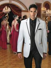 Button White Suit or Fashion Tuxedo For Men & Blazer With Black Edge Trim