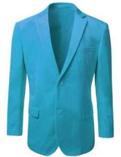 Alberto Nardoni Brand Mens American Regular-Fit 2 Button Velvet Blazer Aqua Turquoise Color